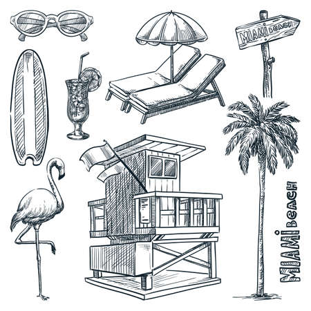 Miami beach landmark symbols. Florida vacation design elements set. Vector doodle sketch illustration. Hand drawn icons, isolated on white background Ilustração