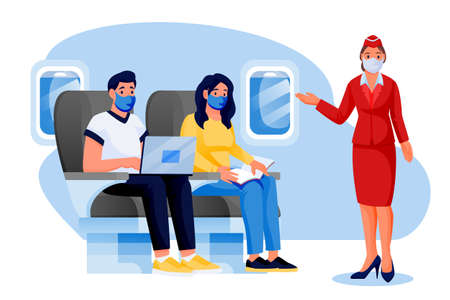 Stewardess, man, woman in medical protection masks travel by airplane. Vector cartoon characters illustration. Air travel new rules, healthy and safe flight concepts. Plane interior with passengers