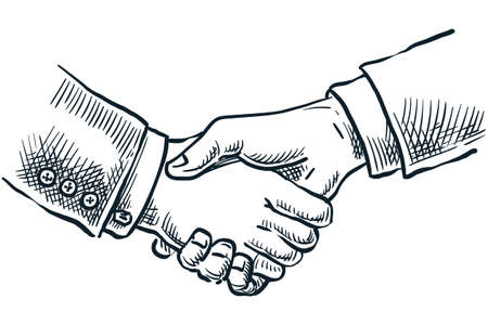 People shake hands. Vector hand drawn sketch illustration isolated on white background. Business partnership, success teamwork or contract agreement concept Ilustração