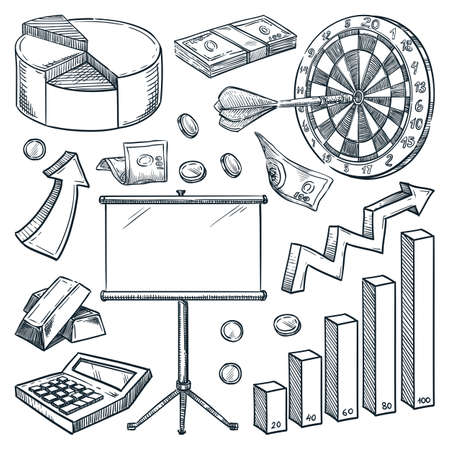 Investment and finance business icons isolated on white background. Hand drawn vector sketch illustrations. Infographic commerce and marketing design elements
