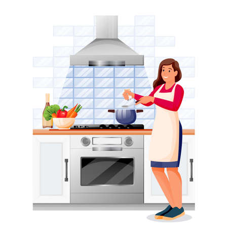 Happy woman cooking vegetable soup in kitchen. Young girl in apron makes healthy lunch or dinner. Vector characters illustration. Home meal recipes, leisure lifestyle and time at home concept