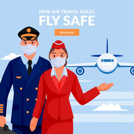 Stewardess and pilot in medical protection masks. Airport airline crew on blue sky background with flying airplane. Air travel new rules, healthy and safe flight concept. Vector flat illustration