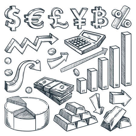 Currency, money, financial graph and diagram business icons isolated on white background. Hand drawn vector sketch illustrations. Investment and finance Infographic design elements Ilustração