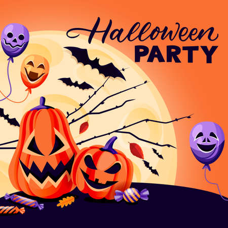 Halloween holiday square banner, flyer or poster design template. Vector flat cartoon illustration. Night background with full moon, pumpkin lanterns, balloons and bats Ilustração
