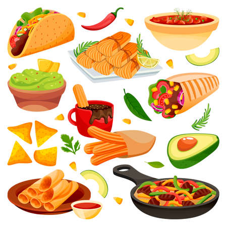 Mexican traditional holiday food dishes. Vector flat cartoon illustration. Set of isolated mexico cuisine meal. South America restaurant or cafe menu design elements