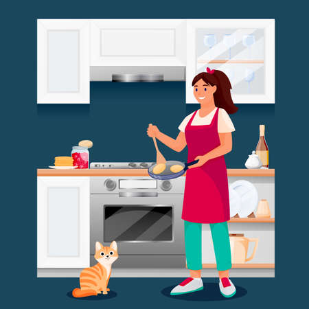 Happy woman cooking pancakes in kitchen. Young girl with red cat makes tasty breakfast. Vector characters illustration. Home meal recipes, leisure lifestyle and time at home concept Illustration