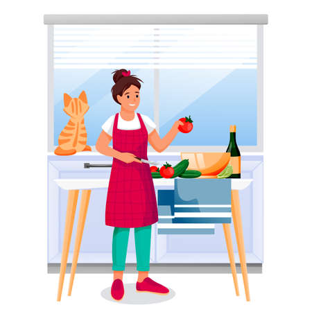 Happy woman cooking vegetable salad in kitchen. Young girl with red cat makes healthy dietic lunch or dinner. Vector illustration. Home meal recipes, leisure lifestyle and time at home concept