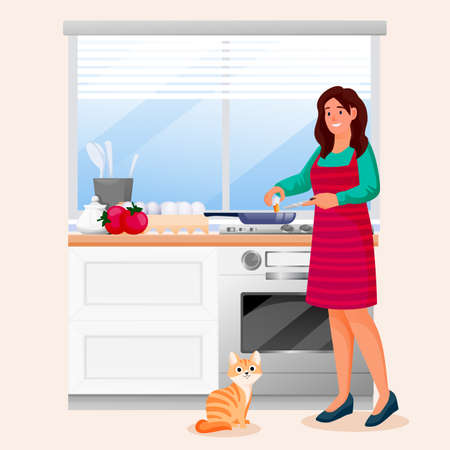 Happy woman cooking scrambled eggs in kitchen. Young girl with red cat makes tasty breakfast. Vector characters illustration. Home meal recipes, leisure lifestyle and time at home concept