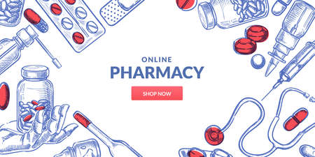 Medicine and pharmacy abstract frame background. Drugstore poster or banner design template with pills, drugs, medical bottles. Vector hand drawn sketch illustration
