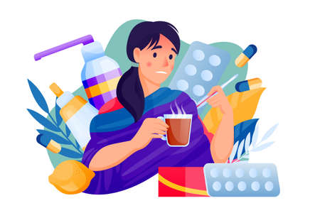 Flu sick young woman with pills and medicines. Female treats seasonal cold respiratory infection disease. Vector flat cartoon characters illustration isolated on white background Ilustração