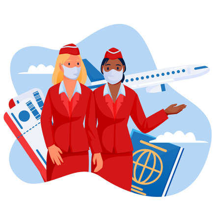 Two stewardesses in medical protection masks on blue sky background with flying airplane. Air travel new rules, healthy and safe flight concept. Vector flat cartoon characters illustration