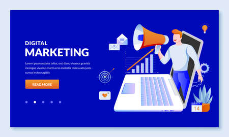 Digital marketing and SEO business technology concept. Vector illustration. Website management and social media advertising strategy. Web landing page, banner, presentation design template