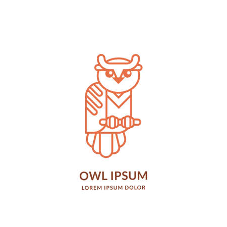 Smart owl line art  emblem design template. Vector abstract bird linear icon. Wisdom, mascot, education brand label concept