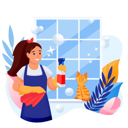 Happy woman cleans window. Young girl with red cat makes housework. Vector flat cartoon character illustration isolated on white background. Professional house cleaning service concept