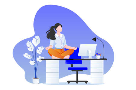 Businesswoman manager sitting in lotus pose on office desk. Office yoga 5-minute break. Woman meditating in modern cabinet. Vector character illustration. Healthy lifestyle and relaxing time at work