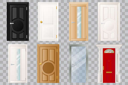 Closed doors set, isolated on transparent background. Classical wooden, white, black and glass door. Modern home or room entrance and exit design element. Vector flat cartoon illustration