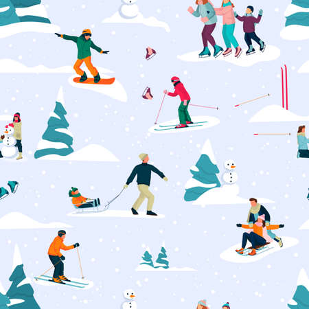 Winter seamless pattern with happy people skiing, skating and sledding. Vector flat cartoon Christmas fun background. Outdoor sports, lifestyle and activities design elements Illustration