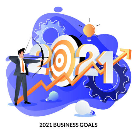 Business target and goals, investment success strategy, income growth in new 2021 year. Vector flat cartoon illustration of businessman shoots target with bow and growing graph Illustration