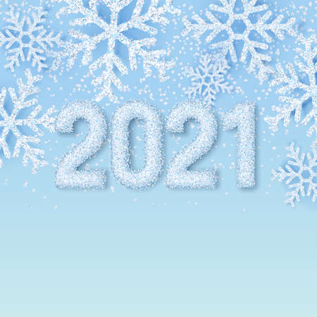 Happy New Year 2021 white snow numbers on winter abstract blue background with realistic snowflakes. Elegant minimal banner, poster, greeting card template for New Year holiday. Vector illustration. Ilustração