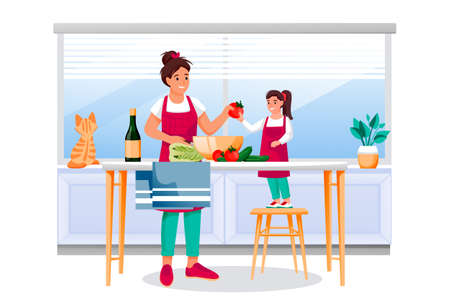 Mother and daughter cooking vegetable salad in kitchen. Mom and little girl make healthy dietic lunch or dinner. Vector characters illustration. Family leisure lifestyle, home meal recipes concept Illustration