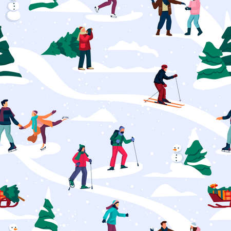 Winter seamless pattern with happy people skiing, skating and walking. Vector flat cartoon Christmas fun background. Outdoor sports, lifestyle and activities design elements