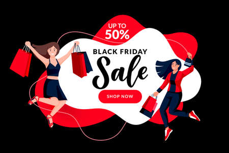 Black friday seasonal holiday sale banner poster design template. Young happy jumping women with paper shopping bags. Vector flat cartoon illustration