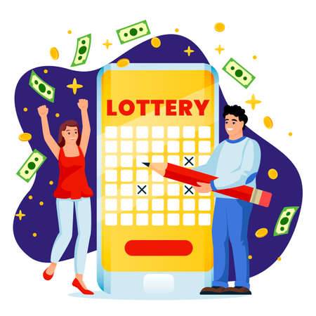 Cheerful couple win money in online lottery. Vector flat cartoon illustration, isolated on white background. Casino or gambling concept. Man and woman cross out numbers in lottery app game