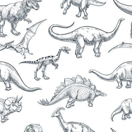 Hand drawn dinosaurs on white background, vector seamless pattern. Trendy sketch illustration for textile kids print, fabric design or wrapping paper Ilustração