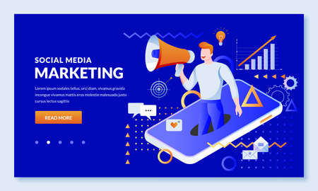 Social media digital marketing business technology concept. Vector illustration. Online communication and advertising strategy. Web landing page, banner, presentation design template Ilustração