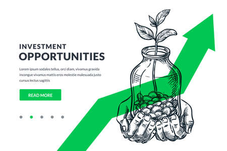 Investment and finance growth business concept. Human hands hold glass jar with coins and growing plant or tree on green arrow background. Hand drawn vector sketch illustration. Poster banner design Illustration