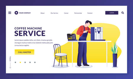 Coffee machine repair service. Handyman master fixing kitchen electronics equipment. Vector flat cartoon character repairman illustration. Home maintenance services concept