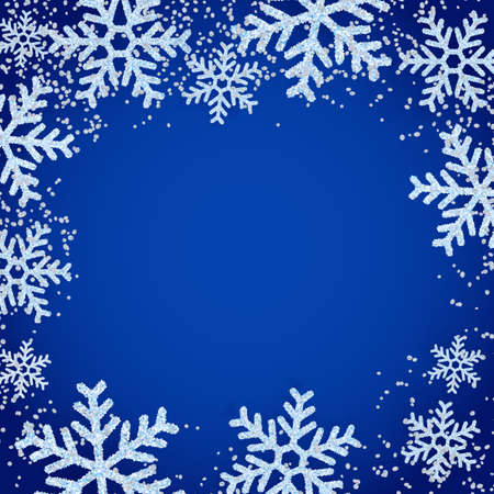 Winter abstract blue frame with realistic white snow snowflakes. Square banner, poster, greeting card background for Christmas or New Year holiday. Vector illustration Ilustração