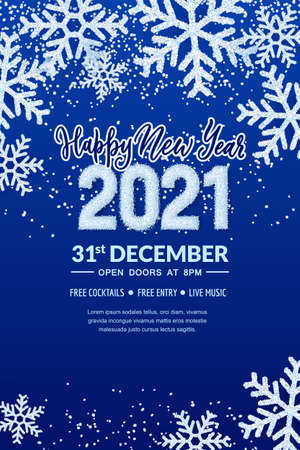 Happy New Year 2021 party banner poster template. Holiday flyer layout with place for text. Vector illustration. White snow numbers on winter abstract blue background with realistic snowflakes Ilustração