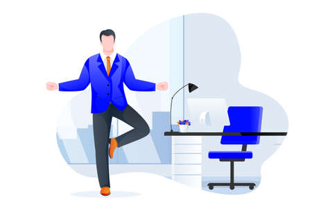 Businessman manager stands in tree pose vrksasana. Office yoga 5-minute break. Man meditating in modern cabinet. Vector character illustration. Healthy lifestyle and relaxing time at work