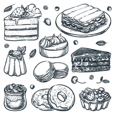 Sliced cakes collection isolated on white background. Vector hand drawn sketch illustration. Desserts icons and cafe design elements set. Sweet pastry, cheesecake, chia pudding, macarons, lemon tart