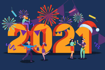 New Year 2021 greeting card. Vector flat cartoon illustration on dark blue background. Happy young people in santa hats have night party with fireworks and champagne