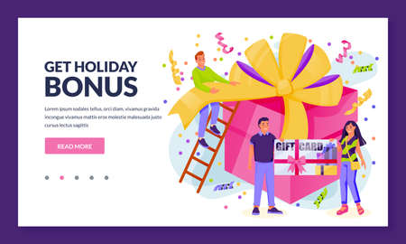 Online store or shop loyalty program and rewards concept. People with gift voucher or bonus card and giant present box. Vector flat cartoon customer characters illustration
