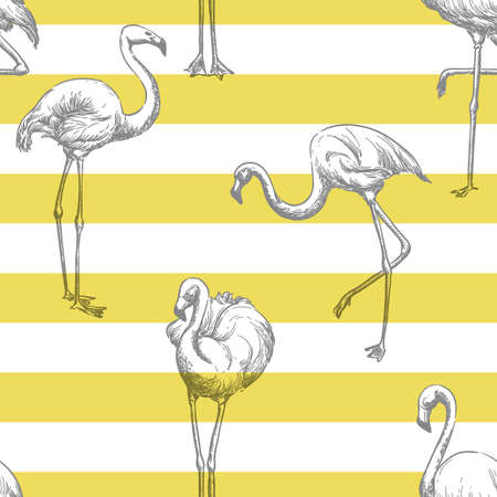 Grey flamingo on yellow white striped background. Trendy tropical seamless summer pattern. Fabric design, wrapping paper or fashion textile print. Vector color hand drawn sketch illustration