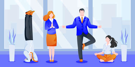 Business team managers have 5-minute break, do yoga in office. Women and men meditating in modern cabinet. Vector illustration. Concept for team building, healthy lifestyle, relaxation time at work