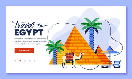 Travel to Egypt and Cairo, vector illustration. Flat cartoo icons of egyptian pyramid, camel and palms. Web landing page, banner or poster design. Tourism and trip concept