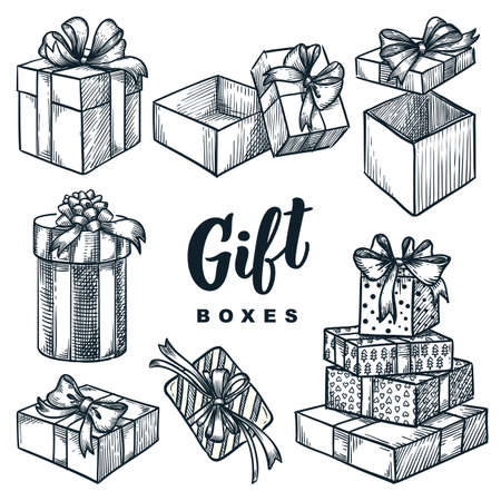 Cardboard gift boxes set. Closed and open empty holiday packages collection. Vector hand drawn sketch illustration. Pile of birthday or christmas presents, isolated on white background