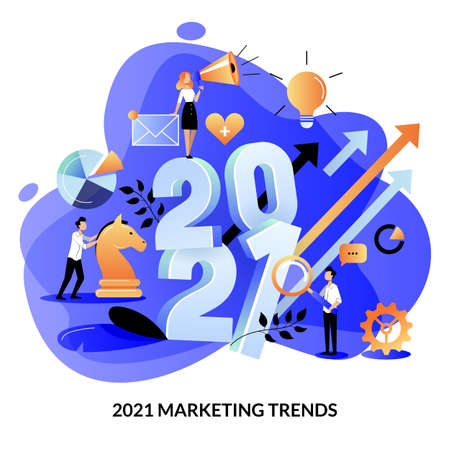 Digital marketing trends, strategy and business plan for 2021 new year. Expectation and perspective concept. Vector flat cartoon illustration for web landing page banner or poster design template Illusztráció