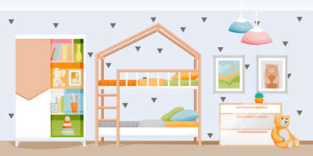 Modern light kids bedroom with bunk bed, wardrobe and toys. Children playroom interior. Vector flat cartoon illustration. Contemporary home background. House furniture design elements