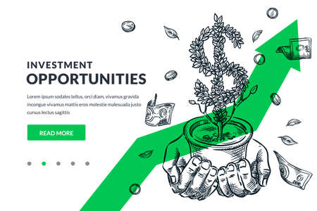 Investment and finance growth business concept. Human hands hold growing dollar tree on green arrow background. Hand drawn vector sketch illustration. Poster banner design