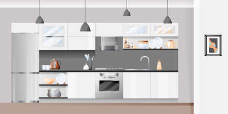 Modern white kitchen interior. Vector flat cartoon illustration. House furniture background and design elements.
