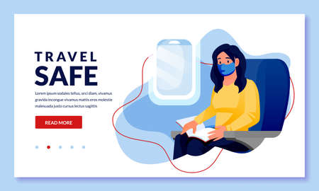 Woman in medical protection masks travel by airplane. Female passenger sitting and reading in plane. Vector cartoon character illustration. Air travel new rules, healthy and safe flight concepts