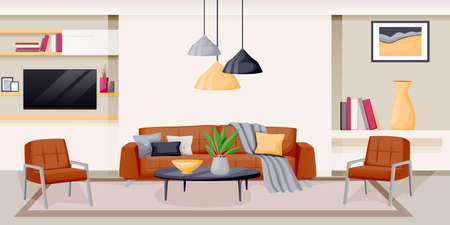 Modern living room interior. Vector flat cartoon illustration. House luxury apartment. Contemporary home background. Furniture design elements