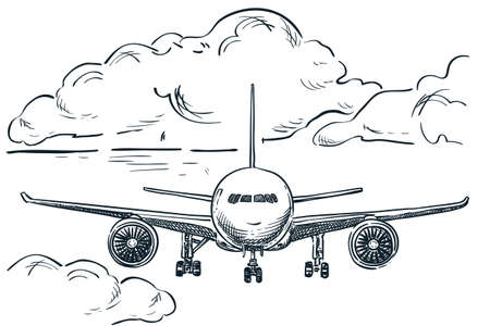 Plane flies in sky, hand drawn vector sketch illustration. Air flight drawing background. Tourism, travel and vacation isolated design elements