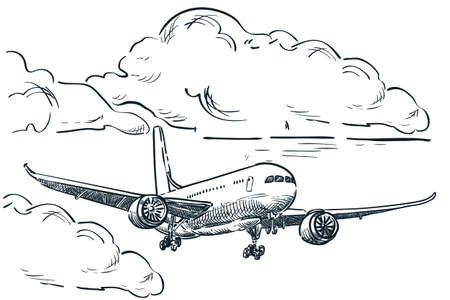 Plane flies in sky clouds, vector sketch illustration. Air travel, tourism flight, plane tickets booking hand drawn isolated design elements