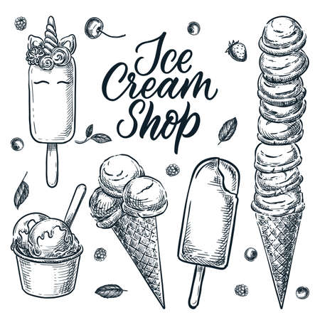 Colorful ice cream cone icons set. Vector cartoon food illustration. Summer dessert snacks collection. Sweet design elements, isolated on white background.
